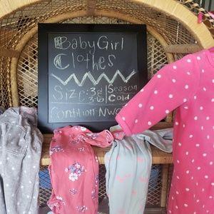 3/3-6 month baby girl sleepers long sleeve nwot